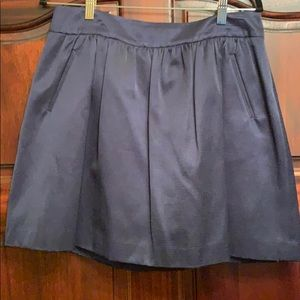 Crown and Ivy Navy Sateen pleated skirt
